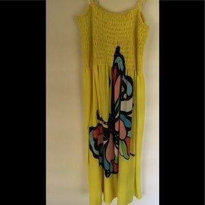 Dress  S/M beautiful yellow with big butterfly 🦋